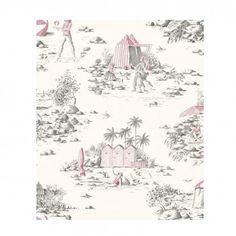 Rideau toile de jouy prêt à poser rouge tissu Deauville Thevenon
