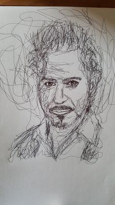 Scribble Portrait of Robert Downey Jr. Downey Junior, Robert Downey Jr, Portrait Art, Scribble, Doodle