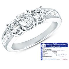$554.99 - 3-Stone 1 Carat Certified Princess Cut Diamond 14K White Gold Engagement Ring