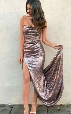 bodycon strapless sequined prom dress with split, elegant mermiad party dress with sweep train #homecomingdresses #longpromdresses
