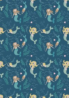 Hey, I found this really awesome Etsy listing at https://www.etsy.com/listing/291817963/mermaids-on-dark-blue-a138-3-tales-of