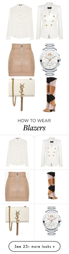 """""""Untitled #3088"""" by kingof21stfashion on Polyvore featuring Balmain, Movado, Gianvito Rossi and Yves Saint Laurent"""