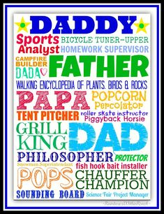 Father's Day projects: bulletin board, craft project, cards and writing for children. FREE Father's Day Printable via RainbowsWithinReach