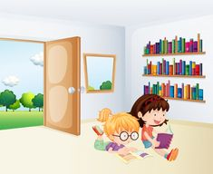 Two girls reading inside a room Personalised Childrens Books, Personalized Gifts For Kids, Girl Reading, Happy Birthday Wallpaper, Vector Photo, Two Girls, Displaying Collections, Book Worms, Vector Free