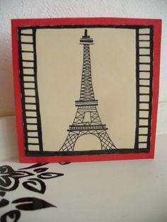 Eiffelovka otevírací přání, 10x10 cm ručně malované I Card, Tower, Rook, Computer Case, Building
