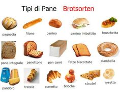 Types of breads Italian Verbs, Italian Grammar, Italian Vocabulary, Italian Phrases, Italian Language, German Language, Italian Dishes, Italian Recipes, Italian Courses