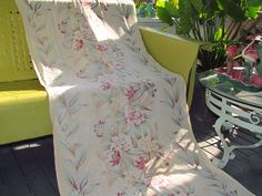 Sunparched Butter Print Texture Cottage Motif Vtg Barkcloth Fabric Drape Curtain   eBay