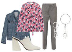 Куртка A.P.C., мюли Mercedes Castillo, блуза Gucci, брюки Joseph, серьги Jennifer Fisher