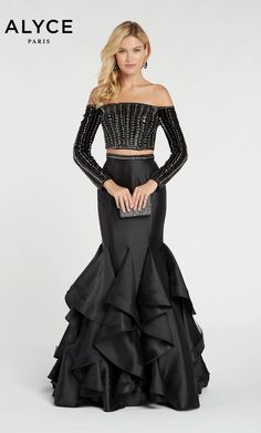 cefc8fd07d Alyce Paris Style 60309 Fitted Two Piece Mikado Mermaid Dress With Off The  Shoulder Sleeves And