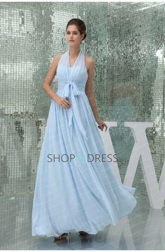 Blue Sheath/Column Bow Chiffon Prom Dresses