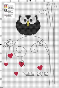 owl cross stitch make owl out of beads, then put on canvas with the hearts and limbs drawn Cross Stitch Owl, Just Cross Stitch, Cross Stitch Animals, Cross Stitch Designs, Cross Stitching, Cross Stitch Embroidery, Embroidery Patterns, Cross Stitch Patterns, Blackwork