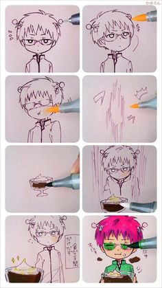 The Disaster Life of Saiki K. / Saiki Kusuo no Psi-Nan - Saiki Kusuo Anime Chibi, Fanarts Anime, Kawaii Anime, Anime Characters, Manga Anime, Anime Art, Manga Eyes, Fictional Characters, Art Sketches