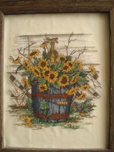 Simply Sunflowers - Paula Vaughan Cross Stitch.  I made this for my mom.  It reminded her of the farm.