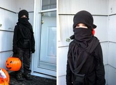 """[ HOMEMADE HALLOWEEN: NINJA COSTUME ]  Marin made this fantastic ninja costume for her son when he changed his mind at the last minute about what he wanted to be. Here's how she did it:    """"The head covering is one of my husband's t-shirts turned inside out. I used 2 black fabric scraps from my stash to make a belt and sling that would hold his """"ninja sword"""" (which was just a Batman sword we already had). We already had black pants, but I did buy the long-sleeved black"""