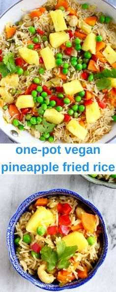 This Vegan Pineapple Fried Rice is fruity and tangy, full of flavour and made in one pot! Gluten-free, refined sugar free and includes a tutorial for how to prepare and cut up a fresh pineapple. #vegan #dairyfree #glutenfree #vegetarian #pineapple #asian