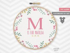 """Stitch this easy, fully customizable floral birth announcement sampler. Give as a new baby girl shower, house warming or anniversary gift or embroider for yourself as a home decor piece for your own little one. The pattern is 160 by 160 stitches. Make sure to buy your aida cloth with a few inches extra for a border.  14 count aida – 11 ½"""" x 11 ½"""" (29.02 x 29.02 cm) 16 count aida – 10"""" x 10"""" (25.4 x 25.4 cm) 18 count aida – 9"""" x 9"""" (22.57 x 22.57 cm)  Included in the PDF pattern is a color…"""