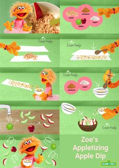 Love sweets? Want to stay healthy? Try Zoe's delicious Appletizing Apple Dip. This cool recipe can be done with your kids and will only take minutes! Eat this snack today: http://www.sesamestreet.org/parents/topicsandactivities/recipes/dip