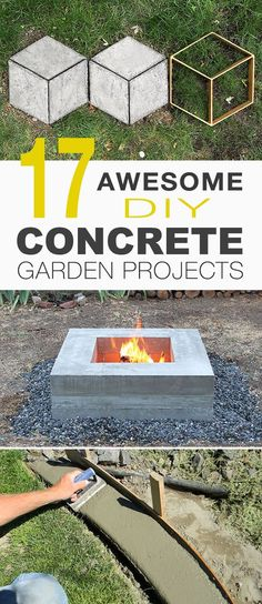 17 Awesome Diy Concrete Garden Projects Outdoor Concrete Table, Concrete Planter, Concrete Stepping Stones, Concrete Bench And Concrete Fire Pit Are Just An Example Of The Cool Diy Projects In This Post And Check Out More Diy Garden Ideas and Projects Concrete Edging, Concrete Stepping Stones, Diy Concrete Planters, Concrete Bench, Concrete Fire Pits, Concrete Steps, Concrete Crafts, How To Color Concrete, Diy Concrete Mold