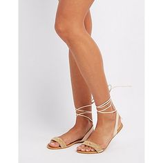 Nude Beaded Lace-Up Sandals - Size 10
