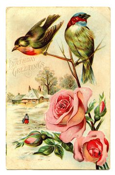 Free Vintage Clip Art - Birds with Roses - The Graphics Fairy