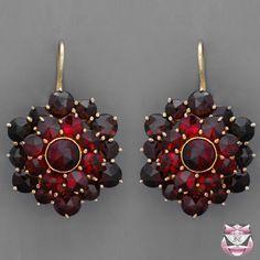Victorian Style Rose-cut Garnet Cluster Earrings
