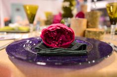 Purple Sparkle Glass Charger Plate
