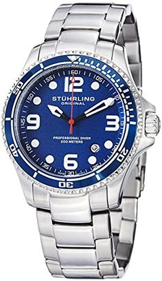 "Stuhrling Original Mens ""Specialty Grand Regatta"" Stainless Steel Professional Swiss Quartz Dive Watch - http://scuba.megainfohouse.com/stuhrling-original-mens-specialty-grand-regatta-stainless-steel-professional-swiss-quartz-dive-watch/"