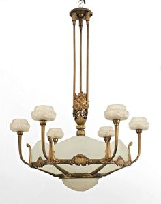 French Art Deco (circa 1925) Gilded Bronze 6 Sided Frosted Glass Chandelier