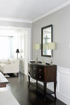 dark floors, gray walls, white trim Benjamin Moore, Revere Pewter