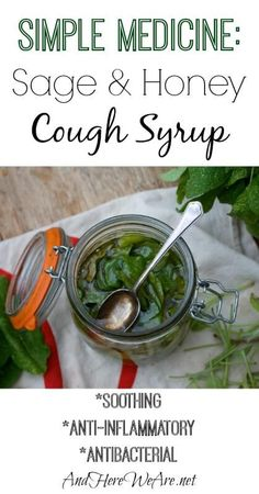Make your own natural cough syrup medicine out of just two ingredients: honey and sage! It's also a delicious infused honey to add to tea or drizzle onto desserts.