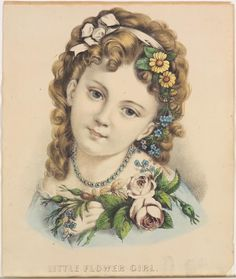 <p>Young girl facing viewer with head titled to her left. Blue dress, garland of flowers in hair and around neckline of bodice.</p>