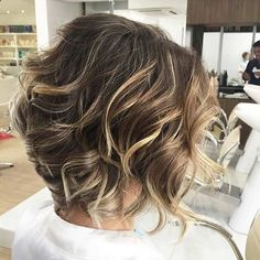 Curly, Short Layered Bob Blonde Balayage Highlights - gnarlyhair.comgnarlyhair.com