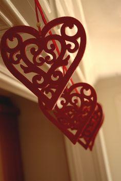 Red Crochet Garland Ideas for Valentines Day, Valentine's Day Garland for 2014, 2014 Lovers Day Decoration