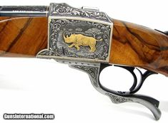 Ruger No. 1 375 H&H Mag caliber rifle. Outstanding Angelo Bee engraved Safari rifle