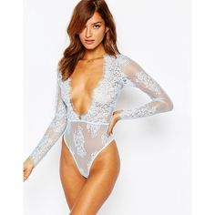 ASOS Lana Delicate Lace Plunge Bodysuit ($46) ❤ liked on Polyvore featuring intimates, shapewear, icey blue, v neck bodysuit, sheer lace bodysuit, sheer body suit, lace bodysuit and asos