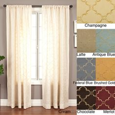 @Overstock.com - Medici Trellis Embroidered 120-inch Curtain Panel - Give your windows an elegant touch with these embroidered curtain panels featuring a lustrous faux silk material and all-over embroidery in a trellis pattern. These gorgeous panels give a full and flowing look to complement any room in your home.  http://www.overstock.com/Home-Garden/Medici-Trellis-Embroidered-120-inch-Curtain-Panel/3319996/product.html?CID=214117 $52.99