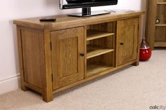 Rustic Solid Oak Extra Large TV Stand / Plasma TV Cabinet / Solid Wood Unit in Home, Furniture & DIY, Furniture, TV & Entertainment Stands | eBay
