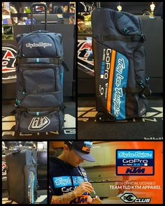 NEW ARRIVAL!  TROY LEE DESIGNS PREMIUM WHEELED TEAM GEAR BAG  The Troy Lee Designs Premium Wheeled Gear Bag offers all the durability you need with the convenience and versatility you want. Created with the rider in mind this heavy duty Shock Doctor equipment bag lets you head to your local track or even travel to the next Lorettas Regional Qualifier with your riding gear organized and protected. The bags large capacity and multiple accessory pockets give you maximum storage for everything…