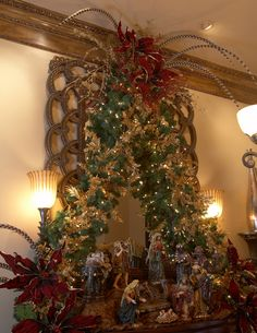 Christmas decoration ideas-need a good place for my nativity pieces Christmas Mantels, Christmas Nativity, Christmas Tree Decorations, Christmas Wreaths, Christmas Crafts, Merry Christmas To All, Beautiful Christmas, All Things Christmas, Christmas Holidays