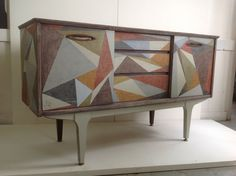 Unique handpainted sideboard painted in geometric design in acrylic.  Price £650 For sale at Verandah