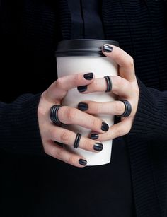 Stand out from the crowd! These matte black rings are a bold alternative to those delicatestacking rings you've seen.  Set of two rings. Each ring is hand-f