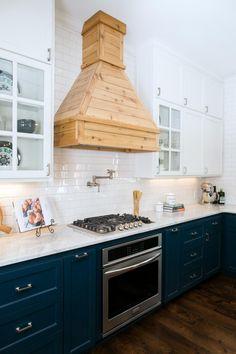 Fixer Upper Kitchen, white subway tile, wooden range hood