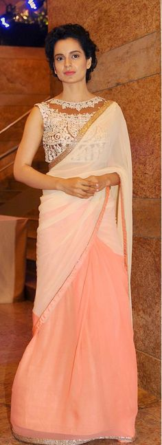Kangana Ranaut looked statuesque in this sari. Love the blouse and the sari. I LOVE saris, every woman I've seen wearing one in India and here looks elegant! Indian Attire, Indian Ethnic Wear, Indian Outfits, Indian Dresses, India Fashion, Asian Fashion, Look Fashion, Fashion Beauty, Ethnic Sarees