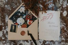 Fineart wedding invitation on handmade paper - torn edges, flower painting envelope liner, wax seal ❤️ Wedding Invitation Design, Wedding Stationery, Envelope Liners, Wax Seals, Personalized Wedding, Wedding Day, Calligraphy, Fine Art, Photo And Video