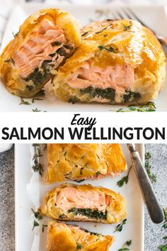 Salmon Wellington is an easy but impressive recipe you can prep ahead for entertaining. Salmon wrapped in puff pastry with spinach, then baked until golden, this salmon en croute is to die for! Baked Salmon Recipes, Sushi Recipes, New Recipes, Cooking Recipes, Healthy Recipes, Recipies, Salmon Wellington Recipe, Wellington Food, Salmon In Puff Pastry