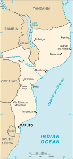 the north- Tanzania; on the NW- Malawi & Zambia; on the west- Zimbabwe; on the south- Swaziland; on the SW- South Africa. The capital and largest city is Maputo. Maputo, Travel Alerts, Country Information, Africa Continent, Geography For Kids, African Countries, Zimbabwe, East Africa, Continents