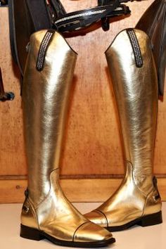 Gold leather  Italian riding boots!