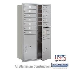 4C Horizontal Mailbox - 13 Door High Unit (48 Inches) - Double Column - 13 MB1 Doors / 1 PL5 and 1 PL6 - Aluminum - Front Loading - USPS Access by Salsbury Industries. $945.00. 4C Horizontal Mailbox - 13 Door High Unit (48 Inches) - Double Column - 13 MB1 Doors / 1 PL5 and 1 PL6 - Aluminum - Front Loading - USPS Access - Salsbury Industries - 820996411174