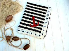 Nautical baby crochet blanket newborn blanket by carohandmade