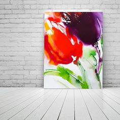 Bright Red Abstract Tulips Flowers Fine Art Print Ink Painting